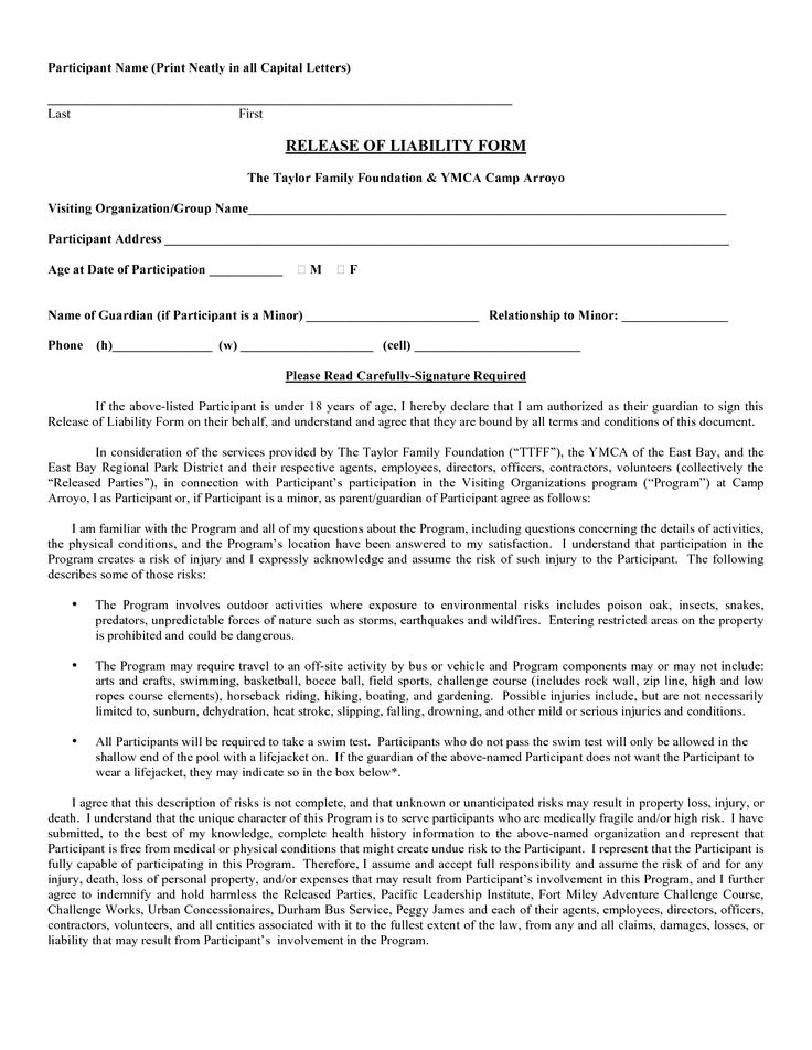 Printable Sample Liability Form Form Online Attorney