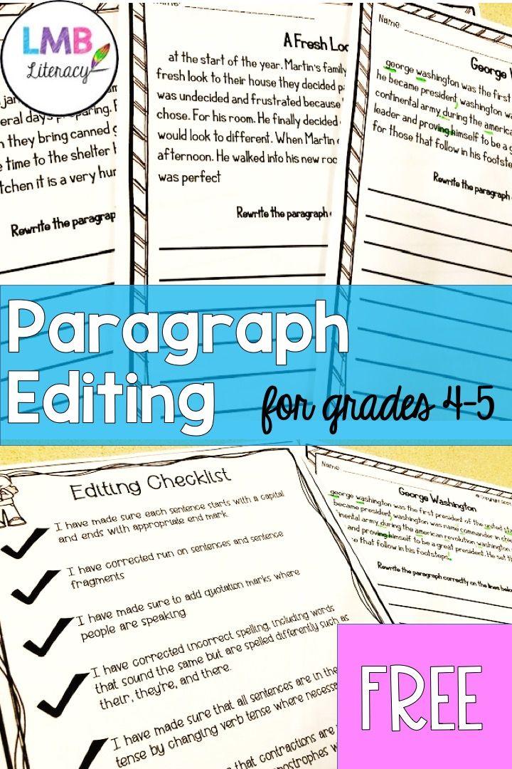 Paragraph Editing Grades 4 5 Teaching Writing Elementary Writing Upper Elementary Paragraph editing worksheets grade 4