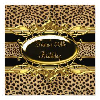 """50.o Leopardo con clase elegante del negro del oro Invitación 5.25"""" X 5.25"""""""