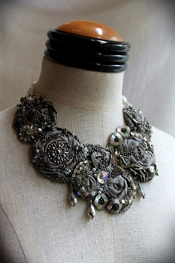 QUICKSILVER Silver Beaded Textile Mixed Media Statement Necklace