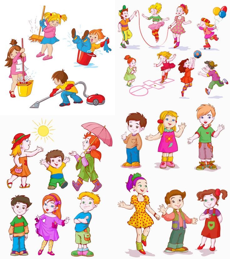 4 sets of vector cartoon kids characters at play or doing their stuff for your graphic designs cards posters and illustrations