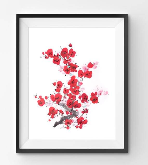 Chinese Red flowers Illustration Plum Blossom Art watercolor