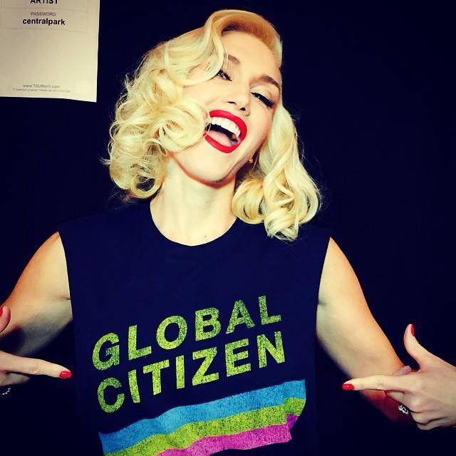 Gwen Stefani rocking her Global Citizen merchandise.