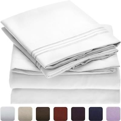 Bed Sheet Set Brushed Microfiber Hypoallergenic Bedding 4 Piece White Twin Size