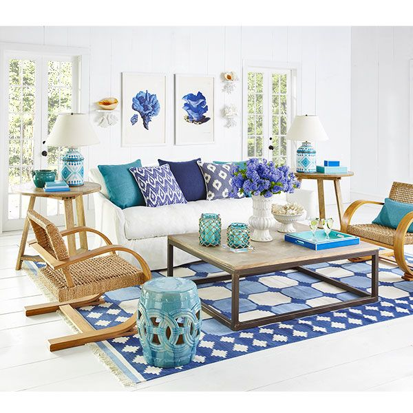 Bright and cheery. Great mix of color, pattern, and texture.: Decor, Ideas, Interior, Livingrooms, Beach House, Living Rooms, Blue, Color, Family Room