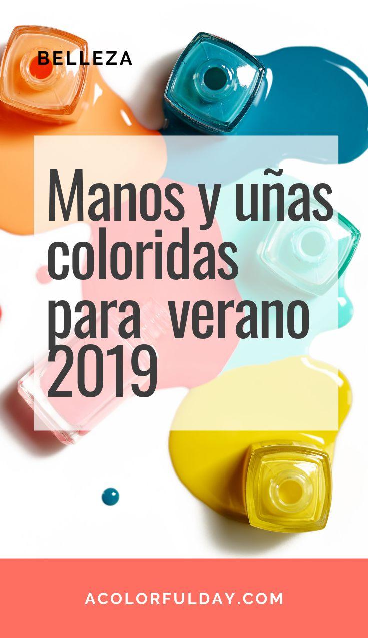 Manos y uñas colorida para verano 2019