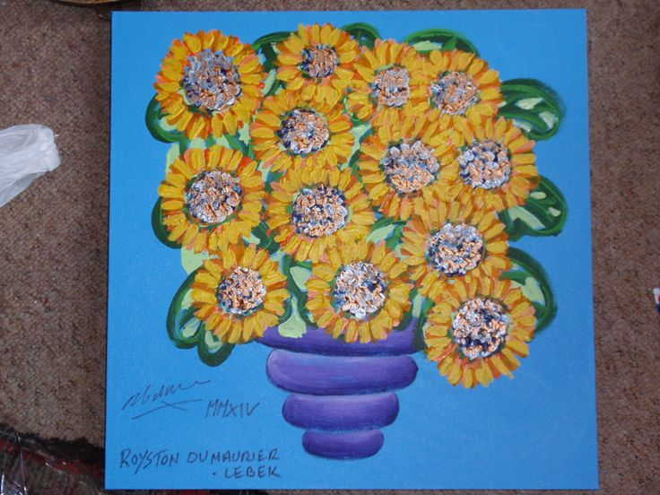 Sunflowers by Royston du Maurier-Lebek donated to Old Town Auction to be held on Monday 28th July 2014 at Court House Street at 6.00 in the afternoon/Evening.