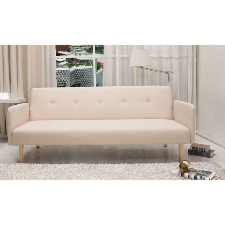 This Beige Comfortable Futon With Microfiber Cover Is Perfect For Hanging Out Or Catching Some