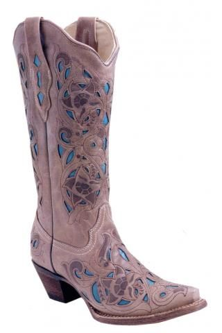 Corral Boot Co. - Sand Turquoise Goat Laser Inlay Urban Western Wear