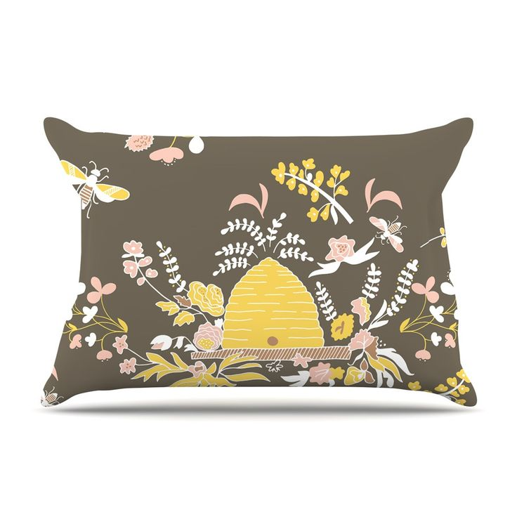 """Very Sarie """"Hope for the Flowers II"""" Yellow Brown Pillow Case"""