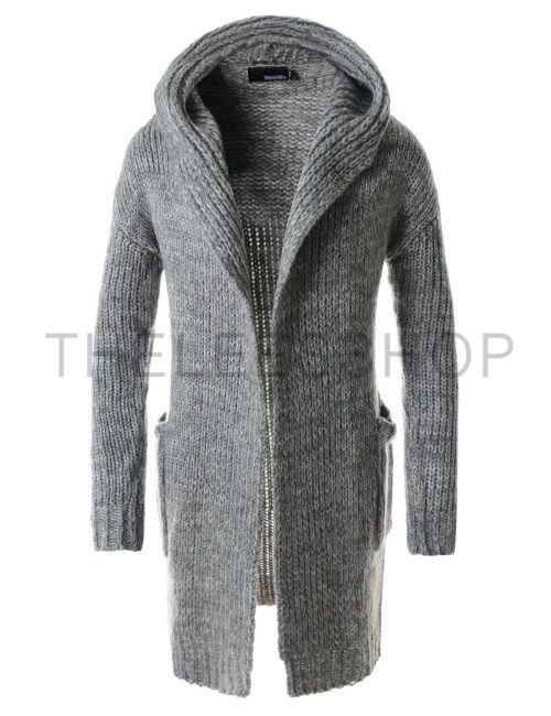 (TNC06-GRAY) Mens Slim Fit Hooded 2 Pocket Shawl Collar Knitted Long Sleeve Cardigan