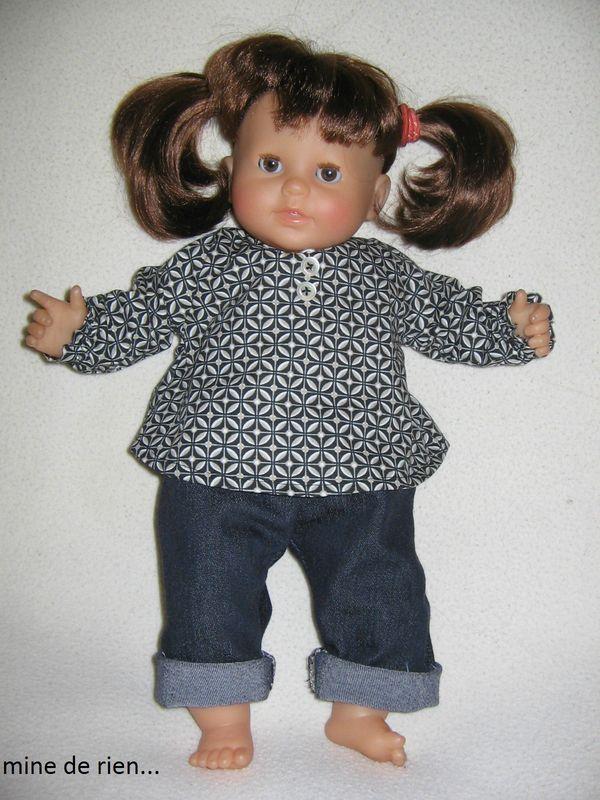 Blouse et Jeans pour Chouquette (Corolle 36 cm) - Plein d'autres modèles sur le blog de MIne de rien.