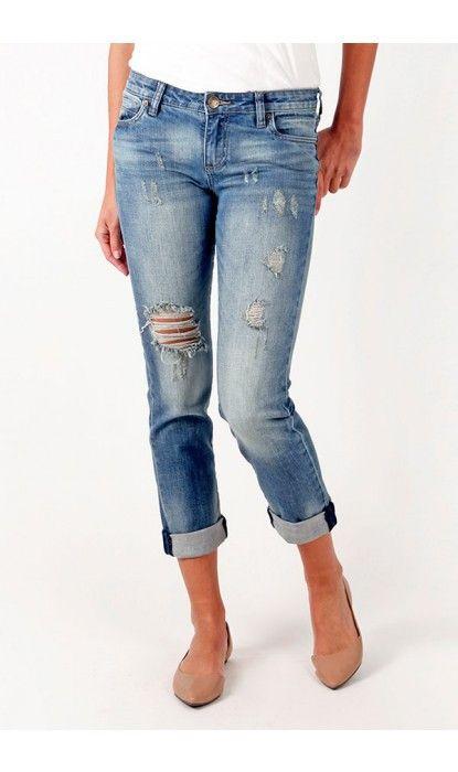 KUT from the Kloth distress boyfriend jeans #petitejeans #shoppetite