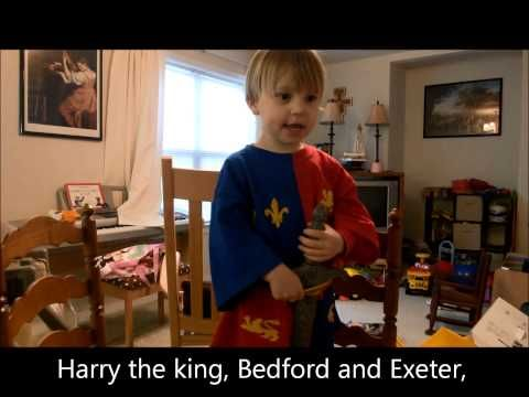 ▶ 3 Year Old Recites St. Crispin's Day Speech from Henry V - YouTube|| He imitates Kenneth Branagh's inflections beautifully. I laughed so hard. This is adorable!!