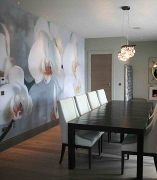 Ornamenta, white orchid feature wall display. Great contrast between, design and the open space of the room, placement patterns.