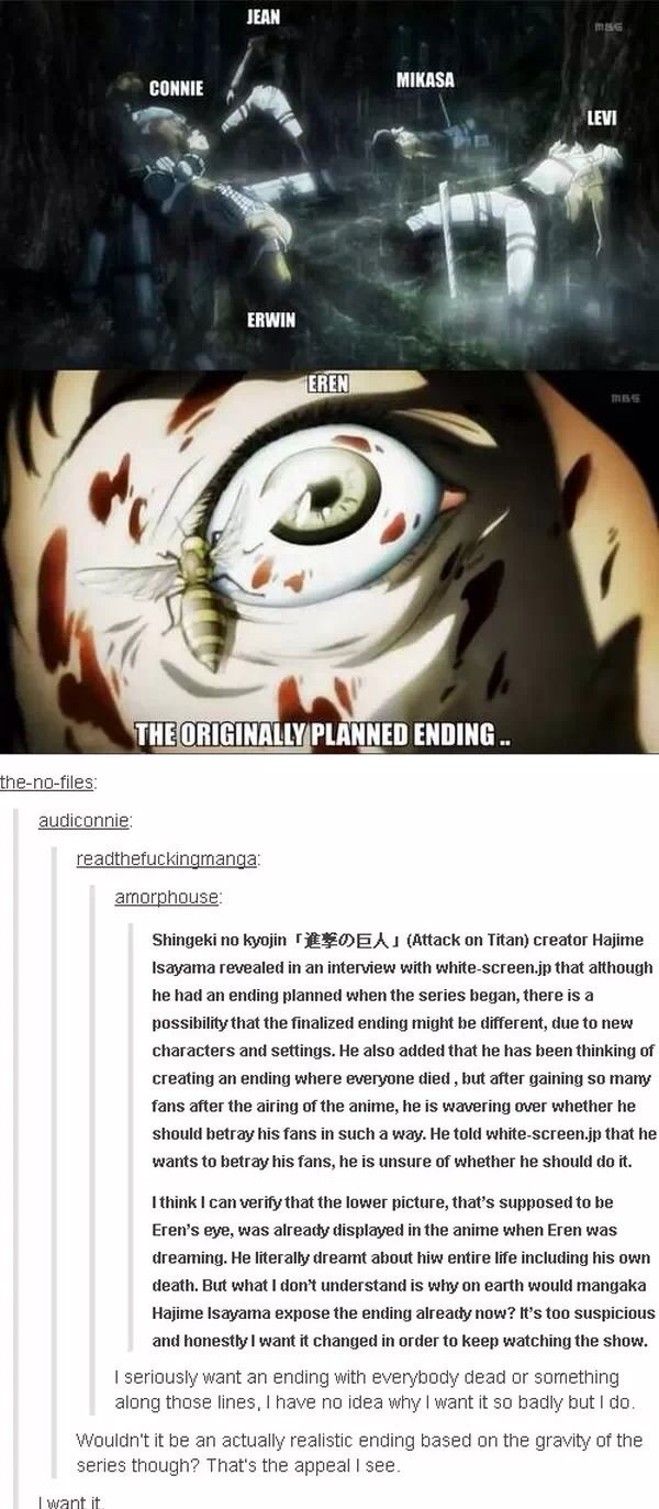 Attack on Titan / Shingeki no Kyojin - If this happened I would never get over Armin's death and I would cry forever.
