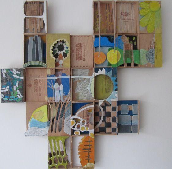 mijn creatie met 20 sigarenkistjes voor het project out of the box van kunsthuis KEK
