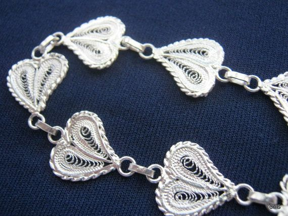 Handmade Sterling Silver Filigree Hearts Bracelet by TrulyFiligree, $65.85