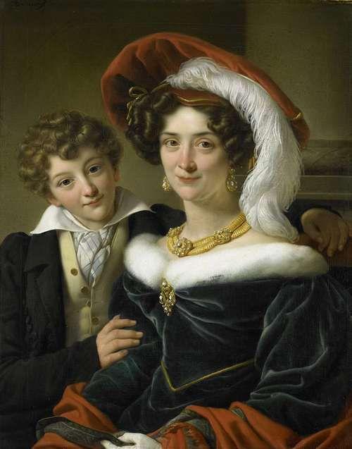 2e echtgenote van Johannes van den Bosch, Rudolphina Wilhelmina Elizabeth de Sturler 1798 -1873 met hun zoon Richard Leeuwenhart. Schilder Cornelis Kruseman 1829: