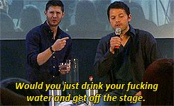 (gif) I love Jensen's reaction. It's just super. --- Jensen doing everyone's OMG my best friend just talked to me in public the way I talk to them in private OH SHIT JUST GOT REAL...face.