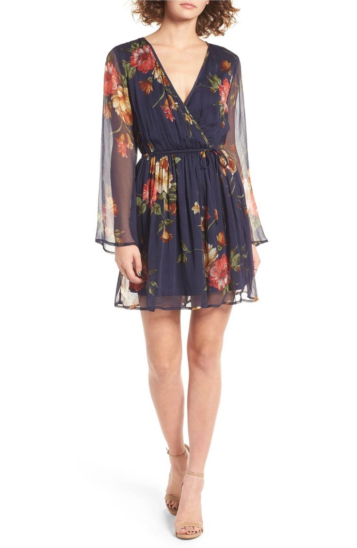 Band of Gypsies Floral Print Surplice Dress