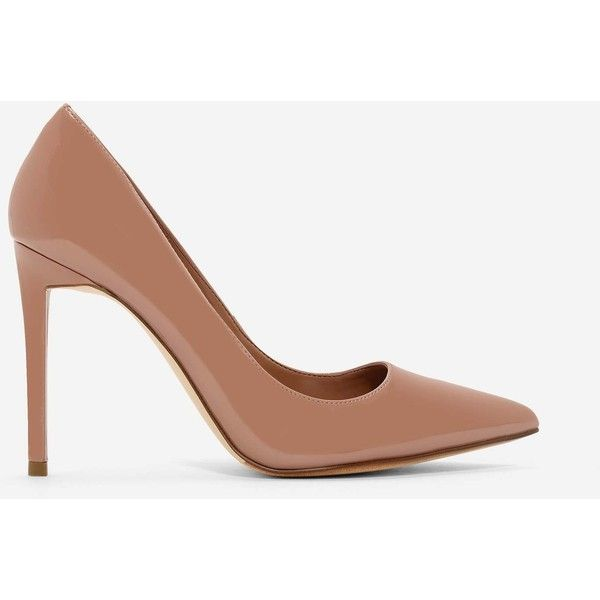 Charles & Keith PATENT POINTED PUMPS ($39) ❤ liked on Polyvore featuring shoes, pumps, patent leather shoes, pointed stilettos, heels stilettos, camel pumps and patent leather pumps