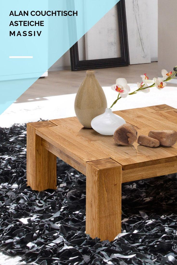 ALAN #Couchtisch Asteiche geölt, Massivholz Füße: 5 x 5 cm