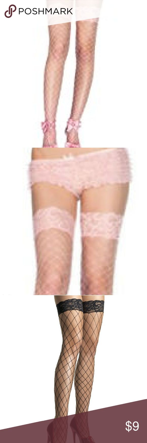 Pink lace top fence net stockings Popular whale net stockings with a lace top.  Proper big fishnets in a choice of three colours, complete with a lace top. Please note: they may look like hold-ups in the picture but the tops are only lightly elasticated so we'd recommend a suspender belt.  One size fits most  90-160 lbs Soft pink Leg Avenue Accessories Hosiery & Socks