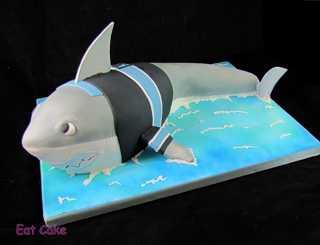 Sharks mascot cake with a Cronulla sharks (aussie league team) jersey -   by Eat Cake (Auckland)