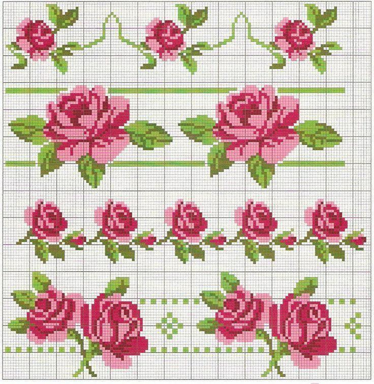 """Pour un biscornu à 15 faces ICI Clic dans les images pour agrandir ! Dans un coeur: En bordure: Pour un marque-page ICI Avec un ruban: Clic! Dans un verre: ICI Soliflore: Miniatures: Clic! Rose de Digoin: Clic! Vintage avec une idée de création: ICI Bonne... [ """"cross-stitch roses borders... no color chart available, just use pattern chart as your color guide.. or choose your own colors... More"""", """"Gorgeous for linen tableware"""", """"Gallery.ru / Фото - G -"""", """"~•♠Maggy♀ Biersack♠•~"""", """"Zór..."""