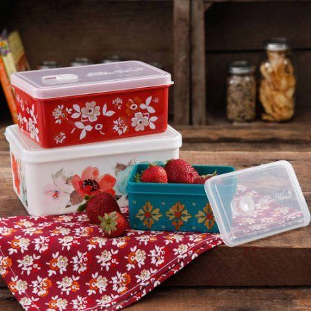 The Pioneer Woman Rectangular Food Storage with Vent Container Set, Set of 3, Multiple Colors - Walmart.com