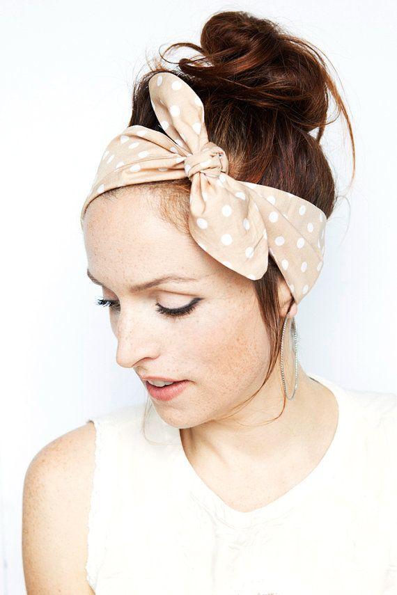 Beige Polka Dot Nude Tie up Headband Hairband by MinitaStudio