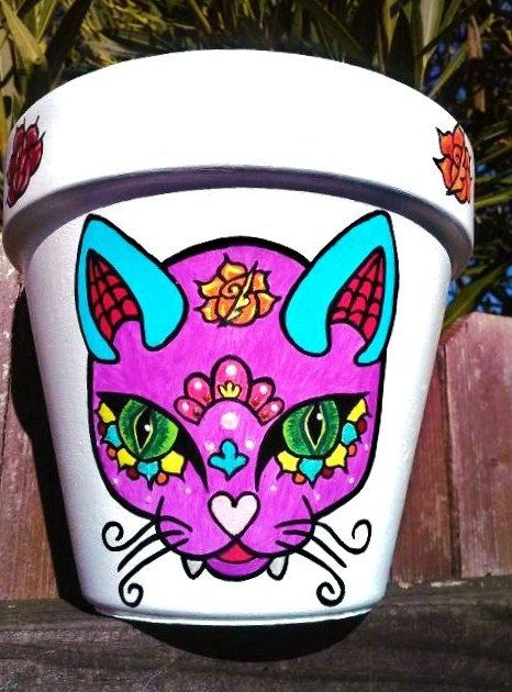 Hand Painted Kitty Sugar Skull Planter/Day of the by WithLoveSandy