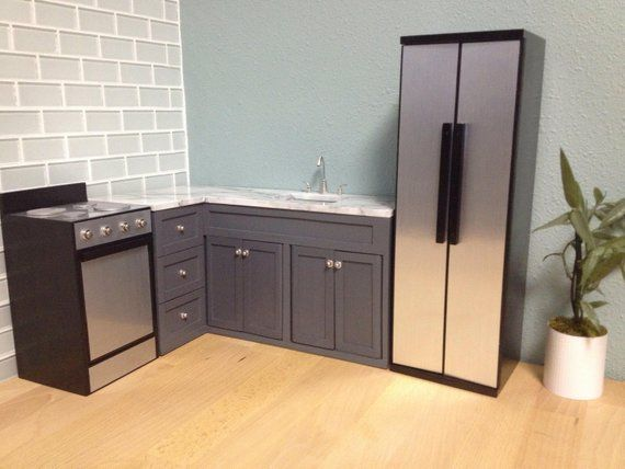 L Shaped corner kitchen cabinets and sink, Dollhouse ...