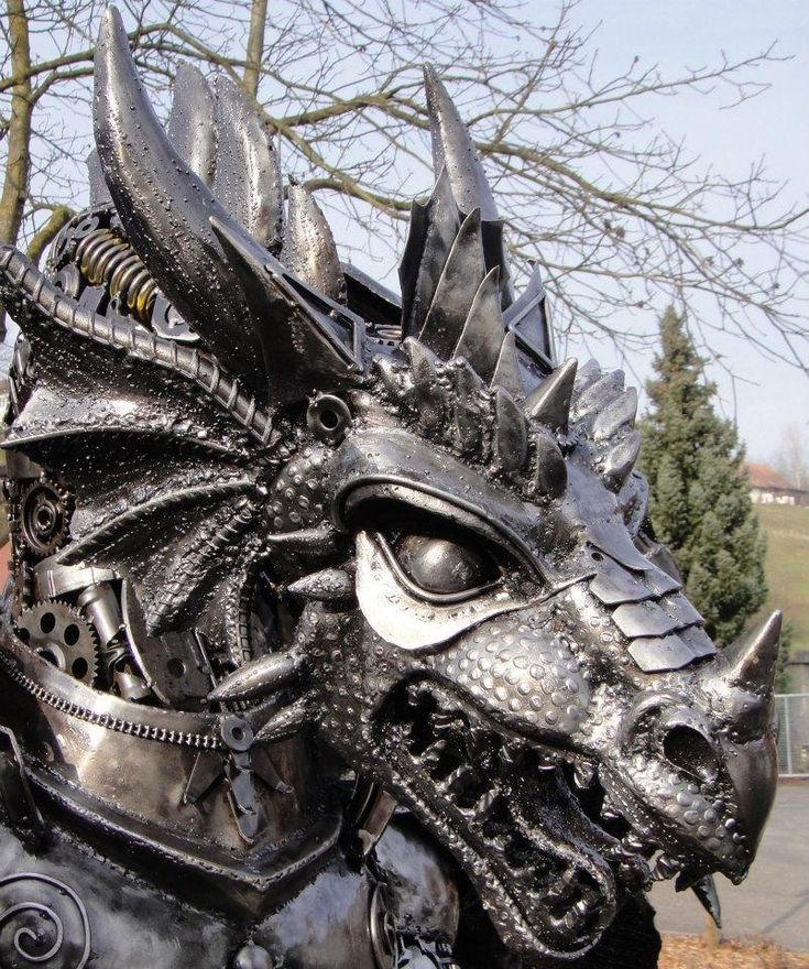 The Recycleart Facebook group frequently posts awesome pictures of steampunk-friendly sculptures. Not all of them look steampunk, but enough do that it's worth checking out. Here are a few examples:
