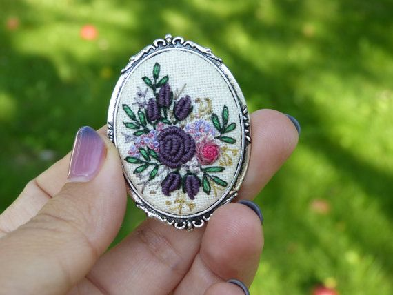 Hand embroidered brooch. Retro brooch. Romantic jewelry. Embroidered roses…