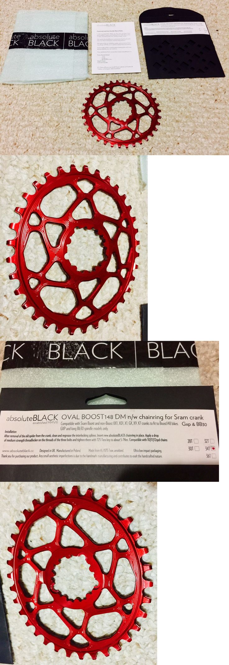 Chainrings and BMX Sprockets 177811: Red Color Absolute Black Sram Oval Boost148 Direct Mount Traction Chainring 34T -> BUY IT NOW ONLY: $59 on eBay!