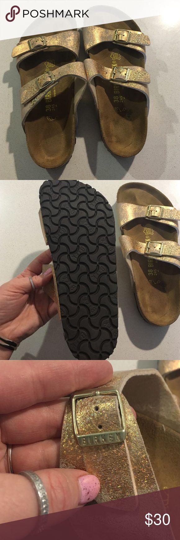 Birkenstock sandals Brand new gold Birkenstock sandals. Tried on, Never worn, but missed the return deadline! 7.5 US/ 38 EU SIZING. Birkenstock Shoes Sandals