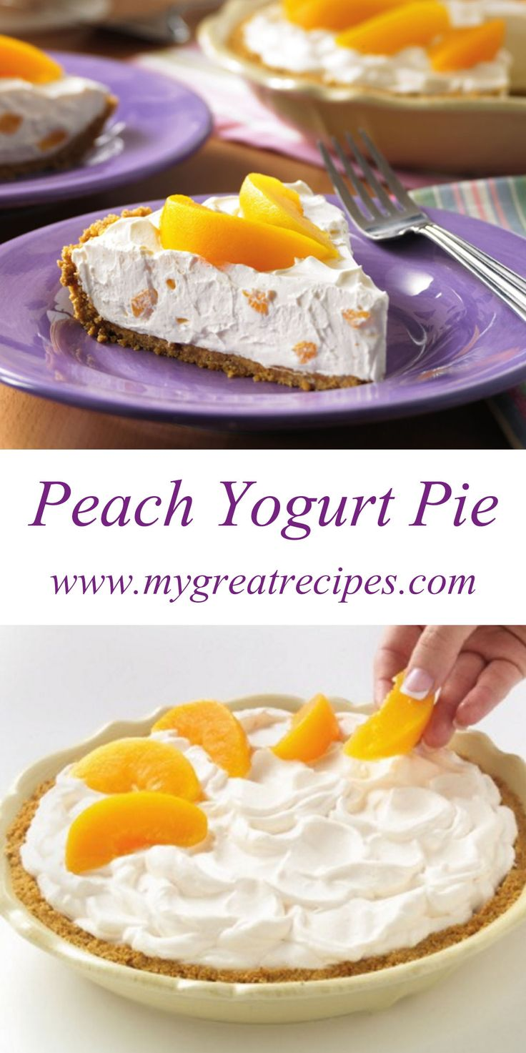 Peachy keen! Peach slices nestle on top of a #creamy filling of whipped topping and #peach #yogurt all in a graham cracker crust. #pie