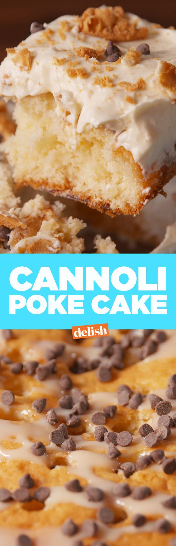 This cannoli poke cake is so much easier than making an actual cannoli. Get the recipe on Delish.com.