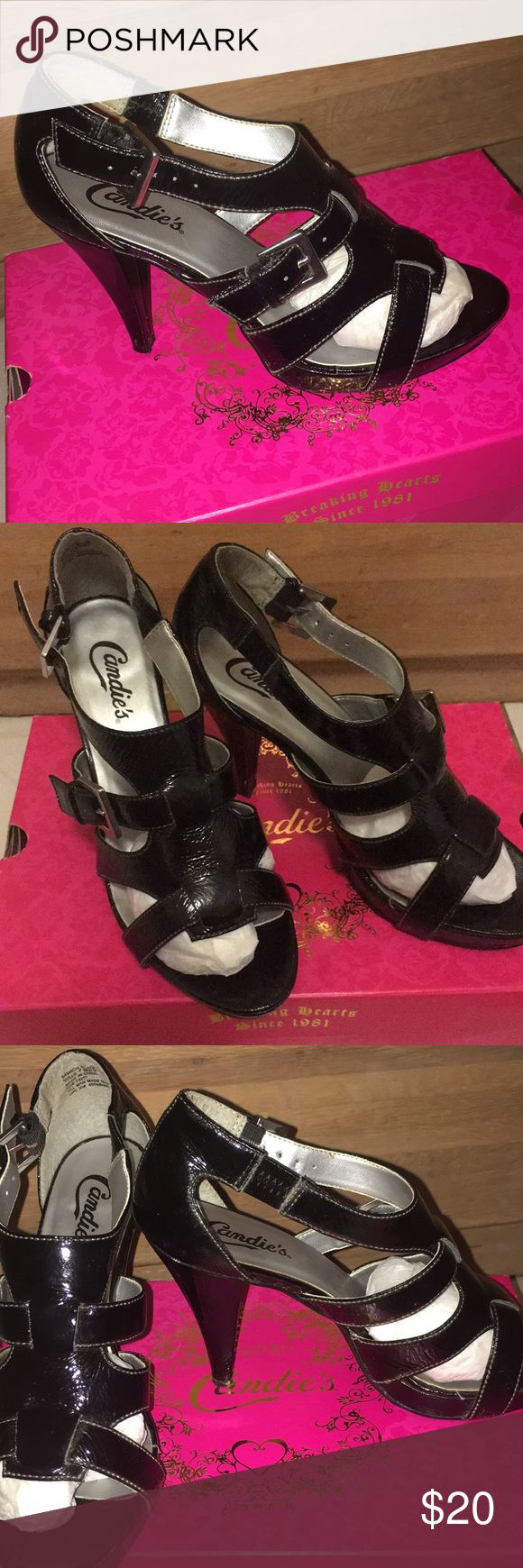 """Candie's gladiator heels Black gladiator heels 👠  """"Samson Black"""" model About two inch heel  Only worn twice then stashed away in closet GOOD CONDITION Candie's Shoes Heels"""
