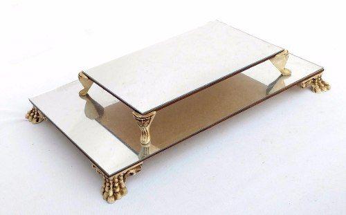 Kit 2 Bandejas Classic Com Pés De Resina - Mdf Com Espelho - R$ 29,90 em Mercado Livre