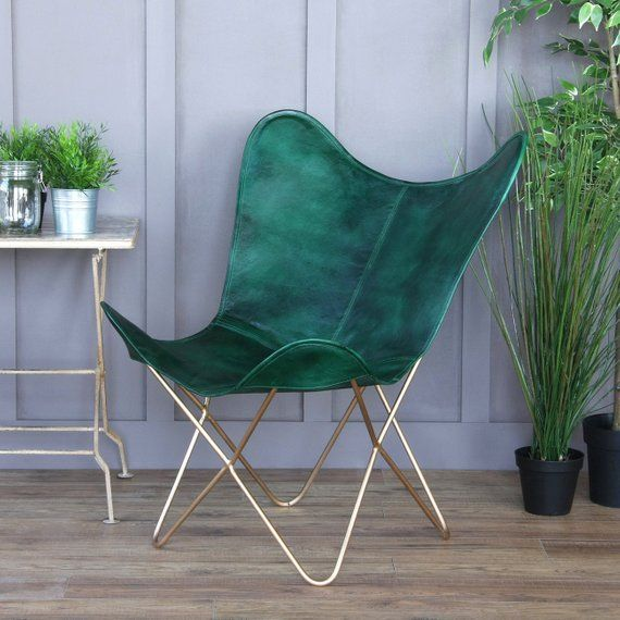 The Erfly Chair Green Leather Gold