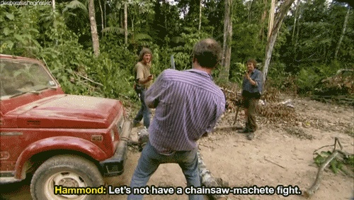 Let's not have a chainsaw-machete fight.
