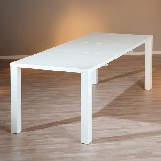 Rossetto Modern Extendable Dining Table In White High Gloss