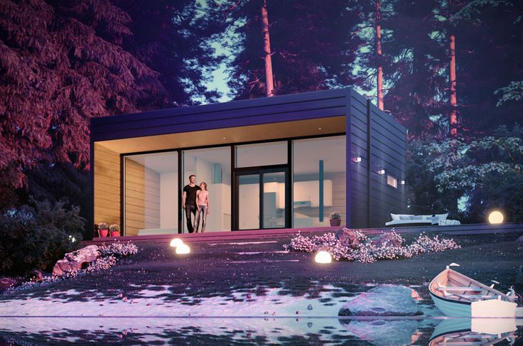 Tuuma is a contemporary log home design with unobstructed views to the surrounding nature.