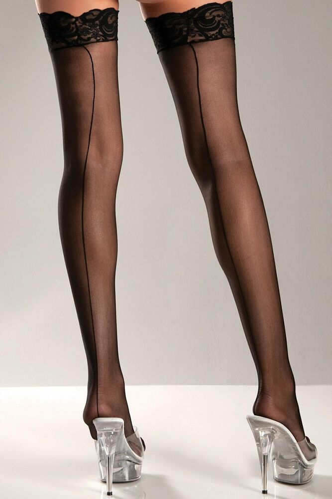 0028793f1 Be Wicked Sheer Lace Top Thigh High Stockings With Back Seam OS Black BW599   BeWicked  ThighHighs  ebay  nylons  stockings