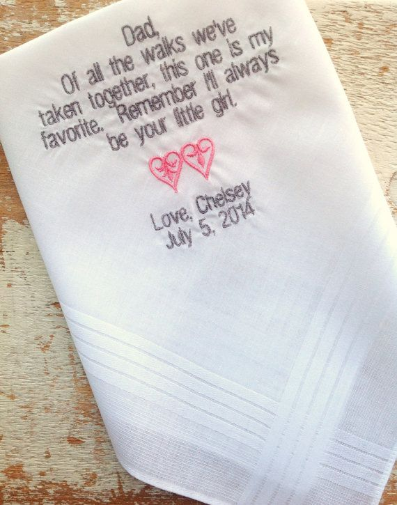 DAD from BRIDE Wedding heirloom handkerchief by HeirloomWeddings, $25.00 have to get these!