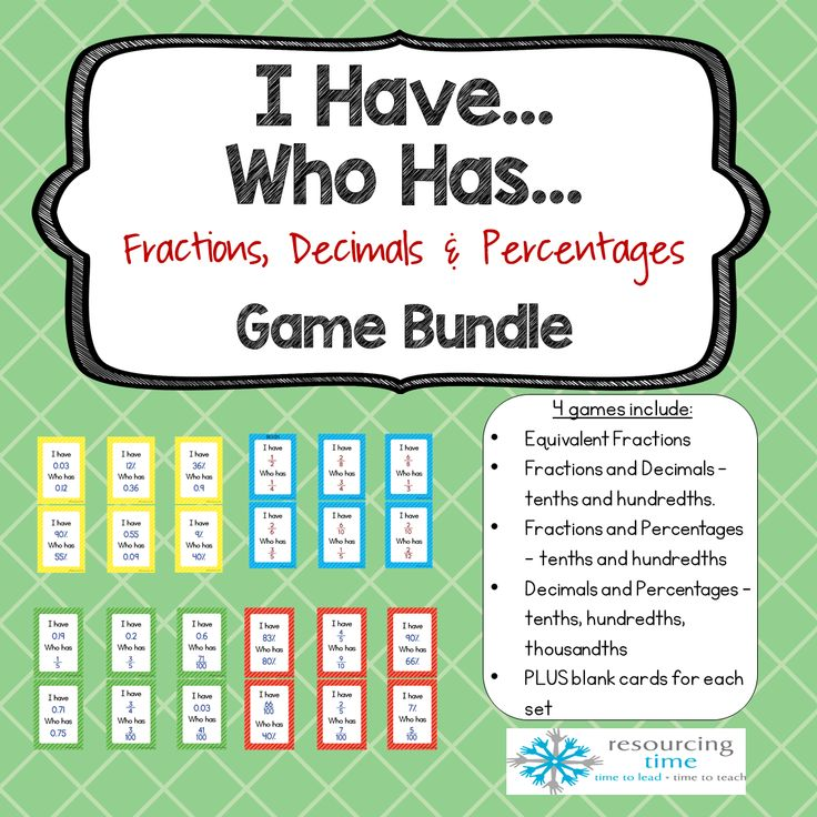 I Have…Who Has…game bundle includes 4 different coloured sets of cards   to consolidate the conversion of fractions to decimals and percentages,   decimals to percentages and equivalent fractions ....
