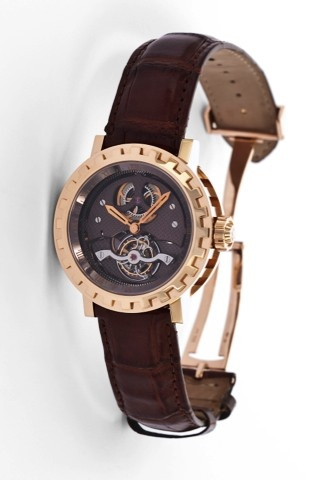 Made in a Limited Edition of 50 pieces in 2006. Very fine and rare, oversized, water-resistant, 18K pink gold wristwatch with one minute tourbillon and an 18K pink gold DeWitt deployant clasp.